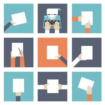 Satz ikonenhände, die ein stück papier halten.