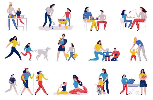 Satz ikonenmutter und -kinder während des pflanzens des blumenkocheinkaufs und der yoga-übungen isolierte illustration