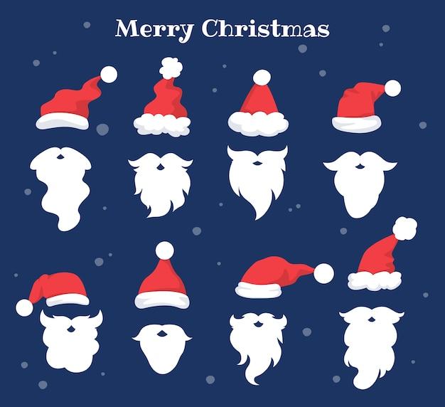 Satz illustration der roten und weißen hüte, des schnurrbartes und des bartes des weihnachtsmanns. feiertagssatz des weihnachtszeichensymbols für festliche dekoration