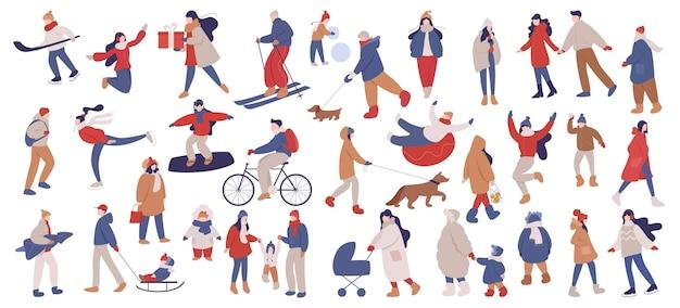 Satz illustration von leuten, die warme winterkleidung tragen. frohe winteraktivitäten mit der familie, weihnachtsfeier. kalte jahreszeit, schlittschuh auf der eisbahn und schneemann machen, skifahren.