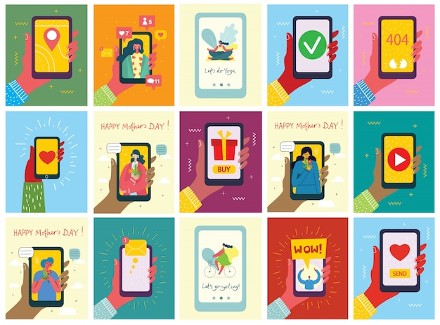 Satz illustrationen der hand, die smartphone mit neuer nachricht auf dem bildschirm und personen mit smartphones hält. chat, e-mail-nachrichten, sms, mobile konzepte für websites, webbanner in flachem design