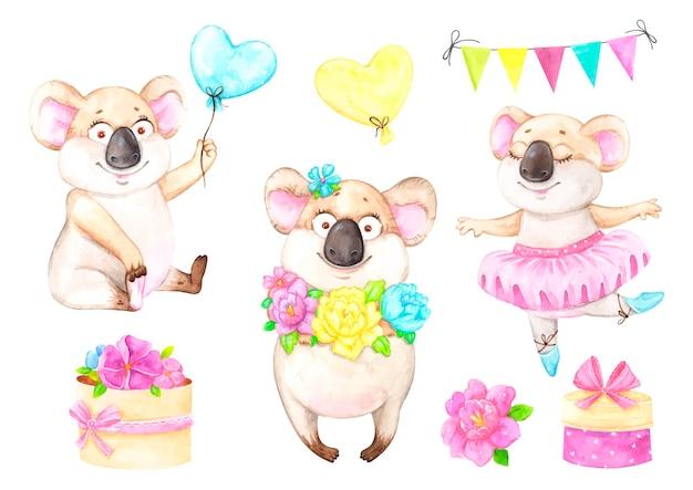 Satz illustrationen der koala-geburtstagsfeier