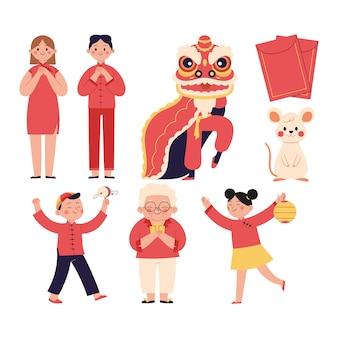 Satz illustrationen des chinesischen neujahrsfests