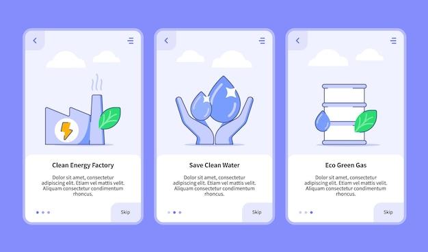 Satz illustrationen für erneuerbare energien für mobile apps