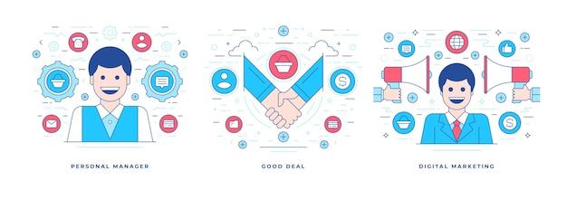 Satz illustrationen linie flache banner, die persönlichen manager darstellen