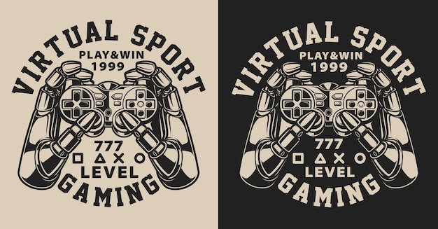 Satz illustrationen mit joystick im vintage-stil. text in einer separaten gruppe.
