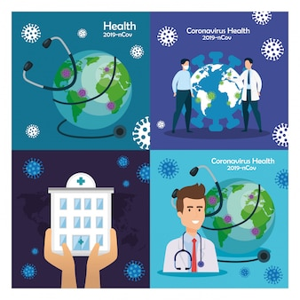 Satz illustrationen über coronavirus-pandemie. erdkugel mit ärzten