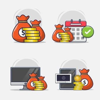 Satz illustrationen von geschäfts- oder finanzikonen Premium Vektoren