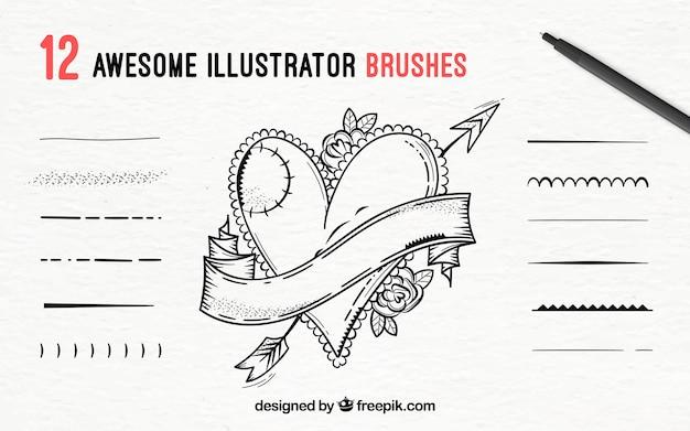 Satz illustrationsbürsten