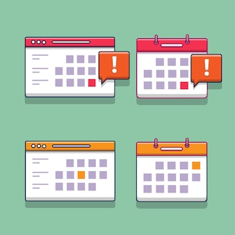 Satz illustrationsdesignkalendersammlung