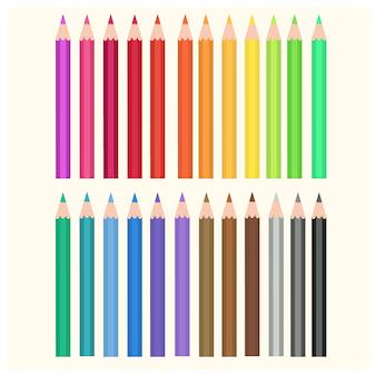 Satz illustrationsfarbbleistifte. mehrfarbige bleistifte getrennt auf weiß