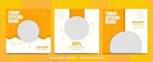 Satz illustrationsvektorgrafik des modernen sauberen nahrungsmittelmenü-social-media-banners mit gelb und passend für social-media-post