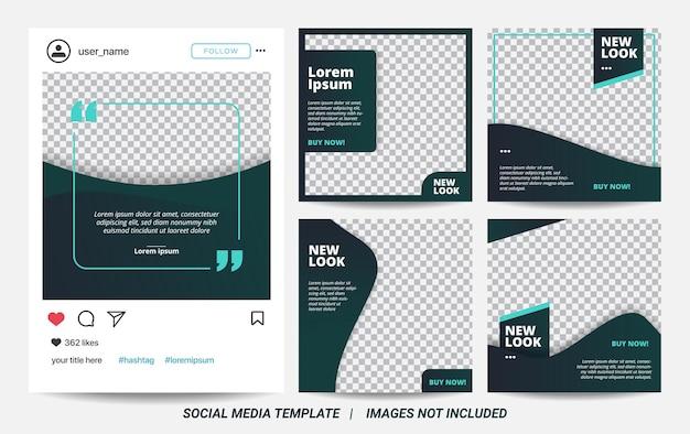 Satz illustrationsvektorgraphik der minimalen quadratischen fahnenschablone. dunkelgrüne hintergrundfarbe mit streifenlinienform. geeignet für social-media-posts und web-internet-werbung