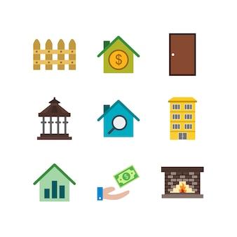 Satz immobilien ikonen auf weißem vektor lokalisierten elementen