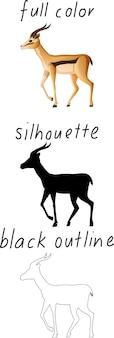 Satz impala in farbe, schattenbild und schwarzer umriss auf weißem hintergrund