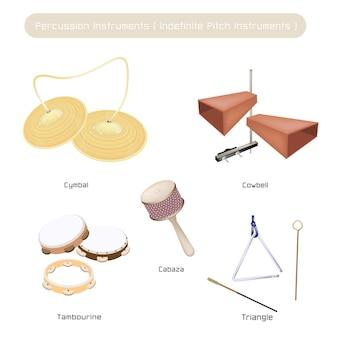Satz indefinite pitch-instrumente auf weißem hintergrund