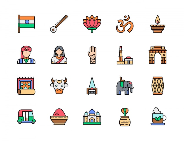 Satz indische kultur-flache farblinien-ikonen. elefant, tuk tuk auto, kobra