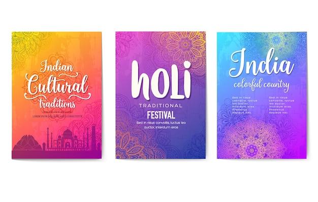 Satz indische plakate lokalisiert auf weiß