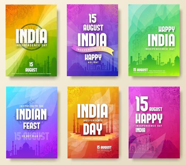 Satz indischer unabhängigkeitstagfestschmuck