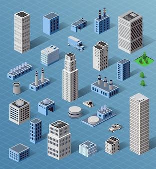 Satz industrielle und wohnindustrielle industriegebäude, häuser und gebäude