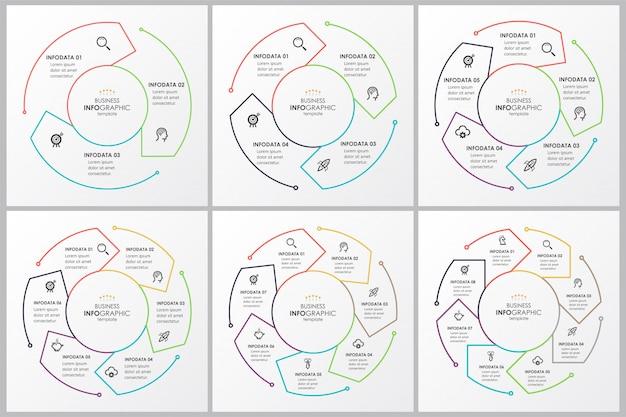 Satz infografik dünne linie design mit kreisförmigen pfeilen. kann für fahrraddiagramme, grafiken, präsentationen und rundkarten verwendet werden. geschäftskonzept mit 4 optionen, teilen, schritten oder prozessen.