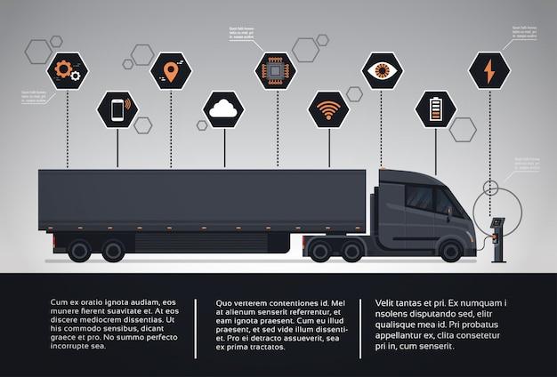 Satz infographic elemente mit dem modernen halb lkw-anhänger, der an der elektrischen ladegerät-station auflädt