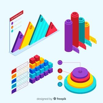 Satz infographic elemente mit isometrischer ansicht