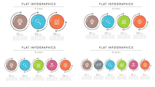 Satz infographic schablonen der flachen artschritt-zeitachse