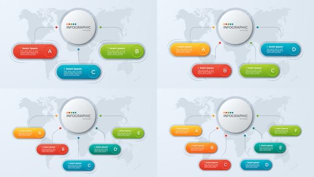 Satz infographic schablonen des präsentationsgeschäfts mit 3-6 opti