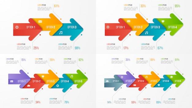 Satz infographic schablonen des zeitachse-diagramms mit pfeilen