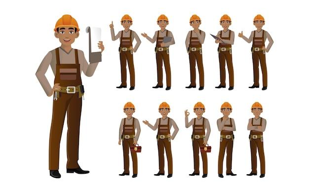 Satz ingenieur mit verschiedenen posen