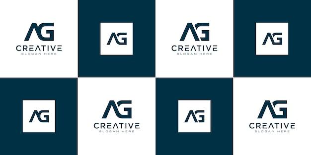 Satz initialen buchstabe ag abstraktes logo