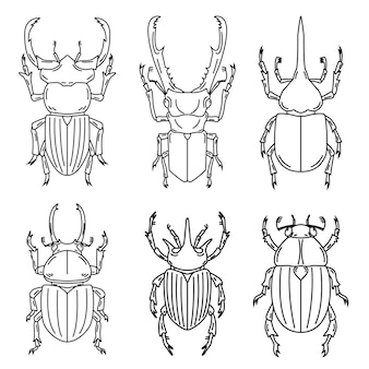 Satz insektenillustrationen auf weißem hintergrund. illustration