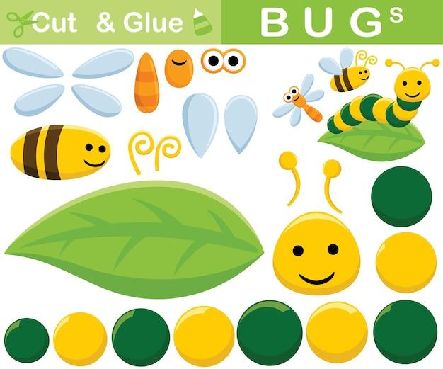 Satz insektenkarikatur. bildungspapierspiel für kinder. ausschnitt und kleben