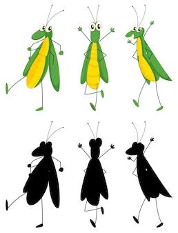 Satz insektenkarikaturcharakter und seine silhouette auf weißem hintergrund