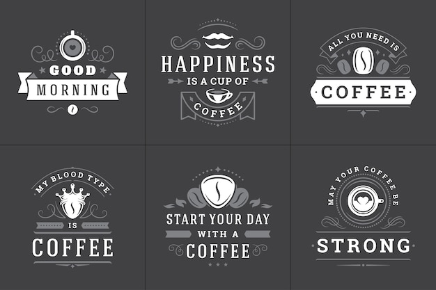 Satz inspirierende phrasenlogos des kaffees