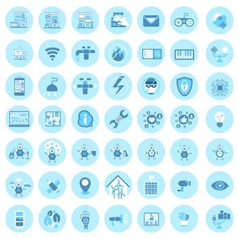 Satz intelligente haus-technologie-ikonen-modernes haussteuerungssystem