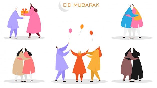 Satz islamische gesichtslose charaktere, die eid mubarak festi feiern