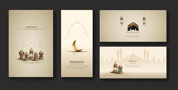 Satz islamische grüße ramadan kareem banner design mit laternen und halbmond
