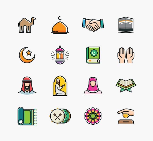 Satz islamische ikonen, ramadan kareem, eid mubarak-linie art icons set