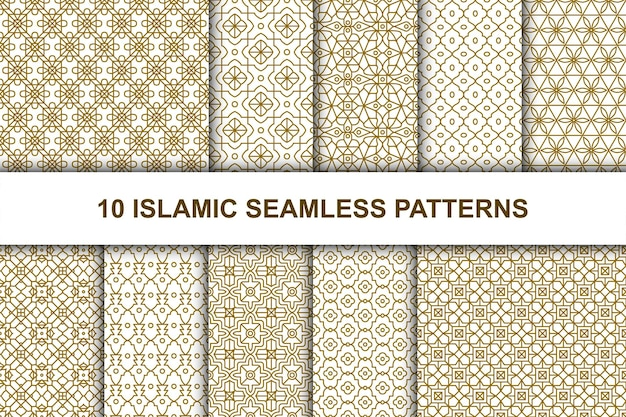 Satz islamische nahtlose muster. ethnischer geometrischer stil.
