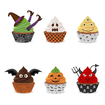 Satz isolierte halloween-cupcakes