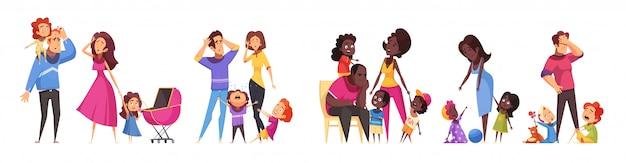 Satz isolierte karikaturkompositionen, die routineszenen der familienbeziehungen zwischen erwachsenen- und kindervektorillustration zeigen