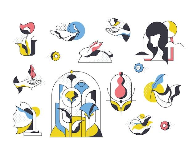 Satz isolierte stilisierte pop-art-illustrationen des frühlings und des sommers.