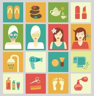 Satz isolierte symbole in bunten quadraten. schönheit und pflege des weiblichen körpers. haarschnitt, spa und make-up. vektorillustration