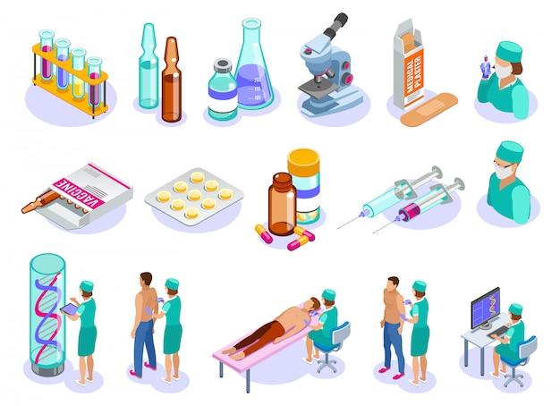 Satz isolierter isometrischer impfsymbole mit menschlichen charakteren von medizinern, patienten und arzneimitteln