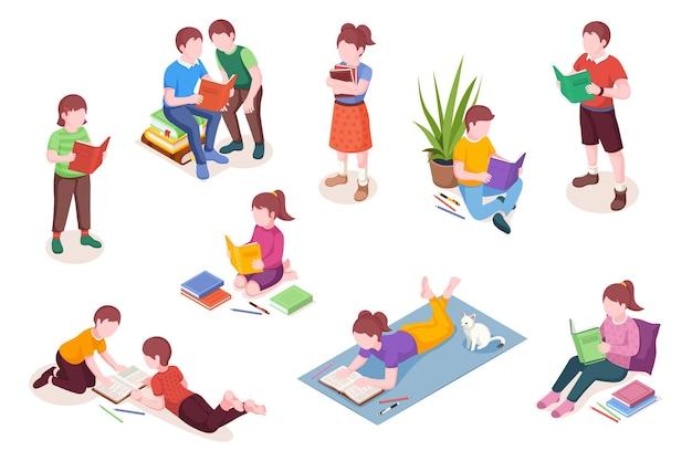 Satz isolierter isometrischer kinderlesebücher junge und mädchen mit lehrbuchvektorillustration