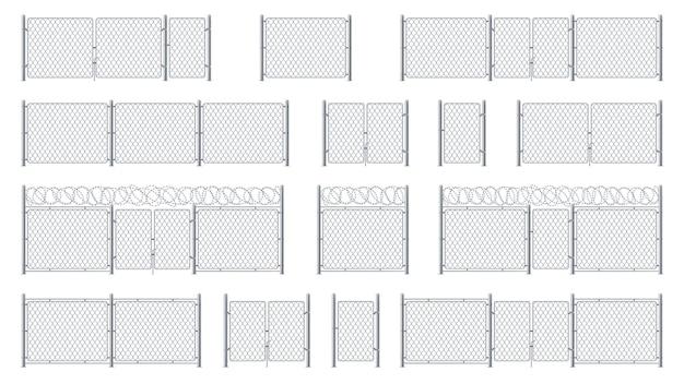 Satz isolierter maschendrahtzäune mit stacheldraht und maschendrahteingang oder torkäfig-pforte