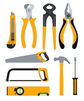 Satz isolierter symbole zum erstellen von werkzeugen zur reparatur. zangen, zangen