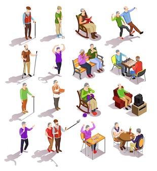 Satz isometrische ältere menschen während der verschiedenen tätigkeit, welche die körperlichen übungen sich treffen mit den freunden lokalisiert kocht